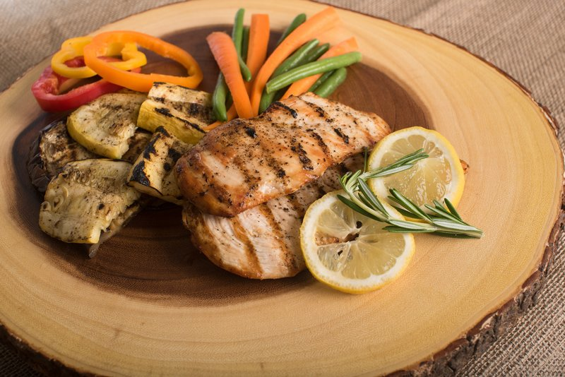 A nutritious and colourful meal including chicken, lemon, thyme and vegetables. These proteins are especially good after exercising.